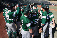 CARY, NC - FEBRUARY 23: Wagner College baseball players huddle during a game between Wagner and Penn State at Coleman Field at USA Baseball National Training Complex on February 23, 2020 in Cary, North Carolina.