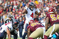 Landover, MD - November 18, 2018: Houston Texans quarterback Deshaun Watson (4) calls an audible during the  game between Houston Texans and Washington Redskins at FedEx Field in Landover, MD.   (Photo by Elliott Brown/Media Images International)