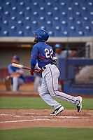 AZL Rangers Keyber Rodriguez (22) hits a home run during an Arizona League game against the AZL Brewers Blue on July 11, 2019 at American Family Fields of Phoenix in Phoenix, Arizona. The AZL Rangers defeated the AZL Brewers Blue 5-2. (Zachary Lucy/Four Seam Images)