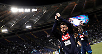 Calcio, Serie A: Roma, stadio Olimpico, 20 settembre 2017.<br /> Napoli's Dries Mertens celebrates after winning 3-1 the Italian Serie A football match between Lazio and Napoli at Rome's Olympic stadium, September 20, 2017.<br /> UPDATE IMAGES PRESS/Isabella Bonotto
