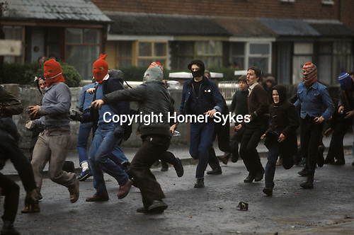 Hooded Catholic youths riot Belfast Northern Ireland 1981