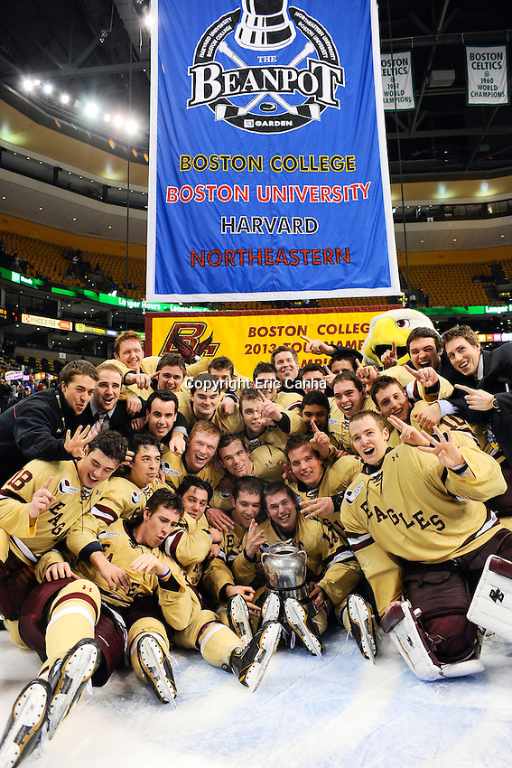 Members of the Boston College Eagles Hockey team pose with the 61st annual Beanpot Trophy after having defeated Northeastern University 6 to 3  during the championship round. The Beanpot Tournament between Boston College,  Northeastern University, Boston University and Harvard University was held at TD Garden in Boston Massachusetts.  Eric Canha/CSM