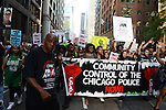 Chicago police torture victim Mark Clements (at left) at the front of the march up Dearborn Street to support a Citizens Police Accountability Council to provide civilian oversight of the Chicago Police Department in Chicago, Illinois on July 11, 2016.  The demonstration attracted a larger crowd on the heels of last week's racially charged police shootings captured on video of Alton Sterling in Baton Rouge, Louisiana and Philando Castile in the St. Paul suburb of Falcon Heights, Minnesota which was followed by a mass shooting of five police officers by Afghan War veteran Micah Johnson who supported radical and violent black nationalist ideology.