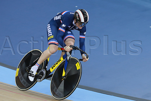 04.03.2016. Lee valley Velo Centre. London England. UCI Track Cycling World Championships Womens team sprint final.  Team France<br />
