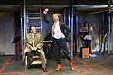 The Busker's Opera, by Dougal Irvine, opens at the Park Theatre.  Directed by Lotte Wakeham, with set design by Anna Kezia Williams and lighting design by Christopher Nairne. Picture shows: David Burt (Jeremiah Peachum), Simon Dylan-Kane (Mayor Lockitt).