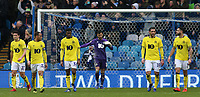 The Blackburn Rovers players can't hide their dejection as the game slips away from them<br /> <br /> Photographer David Shipman/CameraSport<br /> <br /> The EFL Sky Bet Championship - Sheffield Wednesday v Blackburn Rovers - Saturday 16th March 2019 - Hillsborough - Sheffield<br /> <br /> World Copyright &copy; 2019 CameraSport. All rights reserved. 43 Linden Ave. Countesthorpe. Leicester. England. LE8 5PG - Tel: +44 (0) 116 277 4147 - admin@camerasport.com - www.camerasport.com