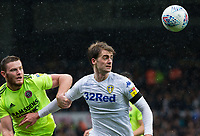Leeds United's Patrick Bamford shields the ball from Sheffield United's Jack O'Connell<br /> <br /> Photographer Alex Dodd/CameraSport<br /> <br /> The EFL Sky Bet Championship - Leeds United v Sheffield United - Saturday 16th March 2019 - Elland Road - Leeds<br /> <br /> World Copyright © 2019 CameraSport. All rights reserved. 43 Linden Ave. Countesthorpe. Leicester. England. LE8 5PG - Tel: +44 (0) 116 277 4147 - admin@camerasport.com - www.camerasport.com