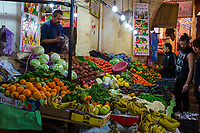 Fes, Morocco.  Fruit and Vegetable vendor, Talaa Kebira Street in the Old City.