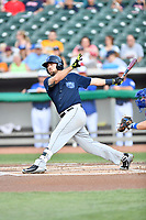 Mobile BayBears third baseman Zach Houchins (5) swings at a pitch during a game against the Tennessee Smokies at Smokies Stadium on June 2, 2018 in Kodak, Tennessee. The BayBears defeated the Smokies 1-0. (Tony Farlow/Four Seam Images)