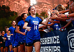 Guinn, Josie_BLU6378<br /> Josie Guinn greets supportive fans. The game between BYU and Ohio State ended in a scoreless draw in double overtime at South Field Monday, August 21 <br /> <br /> <br /> August 21, 2017<br /> <br /> Photography by Gabriel Mayberry /BYU<br /> <br /> © BYU PHOTO 2017<br /> All Rights Reserved<br /> photo@byu.edu  (801)422-7322