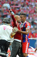 10.05.2014, Allianz Arena, Muenchen, GER, 1. FBL, FC Bayern Muenchen vs VfB Stuttgart, 34. Runde, im Bild Riesenfreude bei Trainer Pep Guardiola (FC Bayern Muenchen) und Jerome Boateng (FC Bayern Muenchen) // during the German Bundesliga 34th round match between FC Bayern Munich and VfB Stuttgart at the Allianz Arena in Muenchen, Germany on 2014/05/10. EXPA Pictures © 2014, PhotoCredit: EXPA/ Eibner-Pressefoto/ Stuetzle<br /> <br /> *****ATTENTION - OUT of GER***** <br /> Football Calcio 2013/2014<br /> Bundesliga 2013/2014 Bayern Campione Festeggiamenti <br /> Foto Expa / Insidefoto