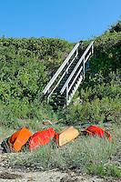 Kayaks on private beach, Cape Cod, MA, Cape Cod, Massachusetts, USA