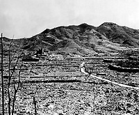 Roman Catholic cathedral in background on hill, Nagasaki, ca.  1945.  (Corps of Engineers)<br /> Exact Date Shot Unknown<br /> NARA FILE #:  077-AEC-52-4459<br /> WAR & CONFLICT BOOK #:  1246