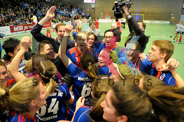GER - Luebeck, Germany, February 07: Players of Mannheimer HC celebrate after winning the Deutsche Meistertitel in the final of the 1. Bundesliga Damen indoor hockey final match at the Final 4 between Mannheimer HC (blue) and Duesseldorfer HC (white) on February 7, 2016 at Hansehalle Luebeck in Luebeck, Germany. Final score 6-4 after shootout. <br /> <br /> Foto &copy; PIX-Sportfotos *** Foto ist honorarpflichtig! *** Auf Anfrage in hoeherer Qualitaet/Aufloesung. Belegexemplar erbeten. Veroeffentlichung ausschliesslich fuer journalistisch-publizistische Zwecke. For editorial use only.