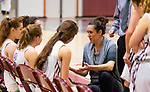 NAUGATUCK,  CT-011820JS06- Naugatuck head coach Gail Cheney talks with her players during a time out in their    non-league game against Shepaug Saturday at Naugatuck High School. <br /> Jim Shannon Republican-American