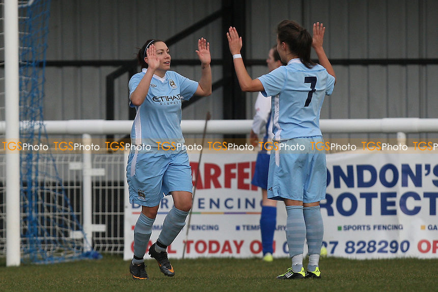 Sarah Buffel (L) scores the second goal for Manchester City and celebrates - Enfield Town Ladies vs Manchester City Ladies - FA Womens Cup 4th Round Football at the Queen Elizabeth II Stadium - 26/02/12 - MANDATORY CREDIT: Gavin Ellis/TGSPHOTO - Self billing applies where appropriate - 0845 094 6026 - contact@tgsphoto.co.uk - NO UNPAID USE.