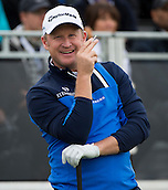 15.10.2014. The London Golf Club, Ash, England. The Volvo World Match Play Golf Championship.  Day 1 group stage matches.  Jamie Donaldson [WAL] on the first tee.