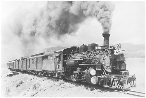 #470 with RPO, 2 baggage cars and 2 coaches.<br /> D&amp;RGW  San Juan Extension,
