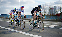 National Champions (and fast/sprint finishers) Zdenek Stybar (CZE/Etixx-QuickStep) & Peter Sagan (SVK/Tinkoff-Saxo) on race leader Geraint Thomas' (GBR/SKY) wheel in the finale of the race<br /> <br /> 58th E3 Harelbeke 2015