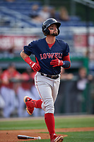 Lowell Spinners Nicholas Northcut (24) jogs to first base during a NY-Penn League game against the Batavia Muckdogs on July 11, 2019 at Dwyer Stadium in Batavia, New York.  Batavia defeated Lowell 5-2.  (Mike Janes/Four Seam Images)