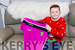 Michael O'Brien Killarney who starred in the Late Late Toy show last Friday with the Wexford shirt presented to him by Davy Fitzgerald