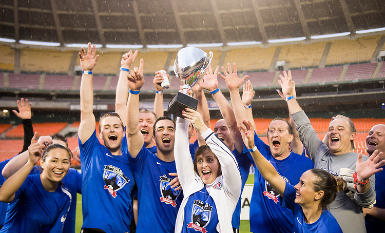 UNITED STATES - MAY 23: Democrats hoist their trophy after defeating the Republicans 5-3 at RFK Stadium in the fifth annual Capitol Soccer Classic's congressional game on Tuesday, May 23, 2017. (Photo By Bill Clark/CQ Roll Call)