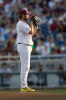 Mississippi State pitcher Trevor Fitts (31) looks to his catcher for the sign during Game 1 of the 2013 Men's College World Series Finals against the UCLA Bruins on June 24, 2013 at TD Ameritrade Park in Omaha, Nebraska. The Bruins defeated the Bulldogs 3-1, taking a 1-0 lead in the best of 3 series. (Andrew Woolley/Four Seam Images)