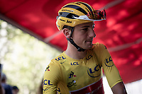 yellow jersey / GC leader Giulio Ciccone (ITA/Trek-Segafredo)at the stage start in Mâcon<br /> <br /> Stage 8: Mâcon to Saint-Étienne (200km)<br /> 106th Tour de France 2019 (2.UWT)<br /> <br /> ©kramon