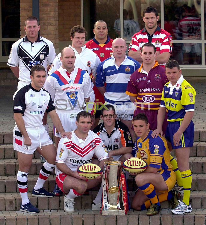Pix:Ben Duffy/SWpix.com.....Rugby League....Super League 2003 Launch ....17/02/2003...COPYRIGHT PICTURE>>SIMONWILKINSON>>01943 436649>>..The captains of the Rugby Super League teams line up for the official launch of this years competition in Leeds today