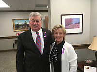 Michael McCollum<br /> 4/10/19<br /> Knoxville's HOPE for victims members attending and hosting their booth/display during National Crime Victims' Rights Week at the State Capitol in Nashville Wednesday morning and afternoon. They also went around to legislators offices and presented them with purple pins in remembrance of the victims.