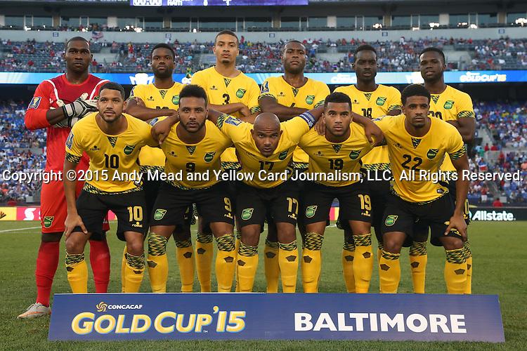 18 July 2015: Jamaica's starters. Front row (from left): Joel McAnuff (JAM), Giles Barnes (JAM), Rudolph Austin (JAM), Adrian Mariappa (JAM), Garath McClearly (JAM). Back row (from left): Ryan Thompson (JAM), Joel Grant (JAM), Michael Hector (JAM), Wes Morgan (JAM), Simon Dawkins (JAM), Kemar Lawrence (JAM). The Jamaica Men's National Team played the Haiti Men's National Team at M&T Bank Stadium in Baltimore, Maryland in a 2015 CONCACAF Gold Cup quarterfinal match. Jamaica won the game 1-0.