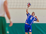 22 February 2015: Yeshiva University Maccabee Outside Hitter Joseph Lipton, a Senior from Toronto, Ontario, in action against the Sage College Gators at the Kahl Gymnasium, in Albany, NY. The Maccabees fell to the Gators 3-0 in NCAA Division III Men's Volleyball Skyline play. Mandatory Credit: Ed Wolfstein Photo *** RAW (NEF) Image File Available ***