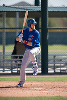 Chicago Cubs catcher Cael Brockmeyer (7) during a Minor League Spring Training game against the Oakland Athletics at Sloan Park on March 19, 2018 in Mesa, Arizona. (Zachary Lucy/Four Seam Images)