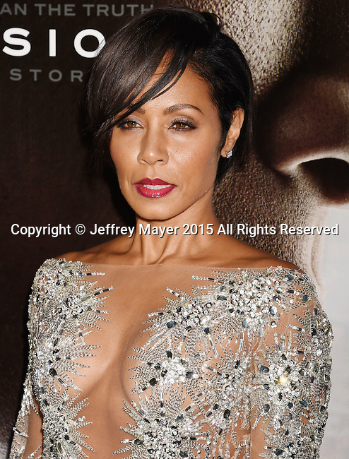 WESTWOOD, CA - NOVEMBER 23: Actress Jada Pinkett Smith attends the screening of Columbia Pictures' 'Concussion' at the Regency Village Theater on November 23, 2015 in Westwood, California.