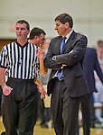 4 February 2014: University of Maine Black Bear Head Coach Ted Woodward, in his 10th season as the Head Coach listens to an official during a game against the University of Vermont Catamounts at Patrick Gymnasium in Burlington, Vermont. The Cats defeated the Bears 93-65 improving to 9-1 in America East and 15-9 overall. Mandatory Credit: Ed Wolfstein Photo *** RAW (NEF) Image File Available ***