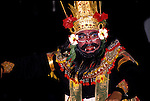 Monkey Dance, Denpasar, Bali, Indonesia, Asia,  photo bali206, Photo Copyright:  Lee www.fostertravel.com, 510-549-2202, lee@fostertravel.com, dancer, entertainer, entertainment, fun, enjoyment, costume, action, attraction, colorful, makeup, artful, stage, travel, horizontal