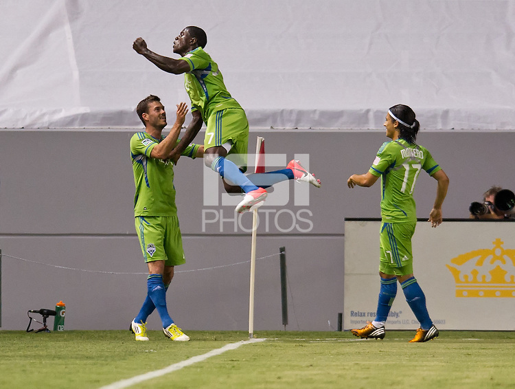 CARSON, CA - August 25, 2012: Seattle forward Eddie Johnson (7) celebrates his goal during the Chivas USA vs Seattle Sounders match at the Home Depot Center in Carson, California. Final score, Chivas USA 2, Seattle Sounders 6.