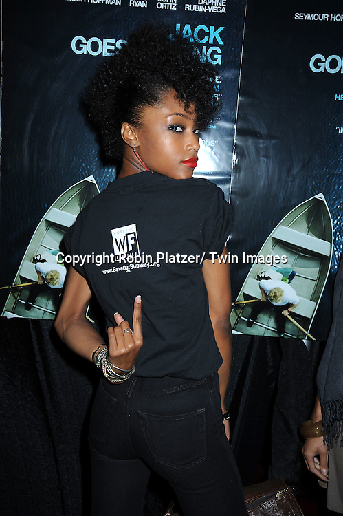 "actress Yaya DaCosta arriving at the Premiere of ""Jack Goes Boating"" on September 16, 2010 at The Paris Theatre in New York City."