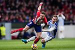 David Zurutuza Veillet of Real Sociedad (R) fights for the ball with Saul Niguez Esclapez of Atletico de Madrid (L) during the La Liga 2017-18 match between Atletico de Madrid and Real Sociedad at Wanda Metropolitano on December 02 2017 in Madrid, Spain. Photo by Diego Gonzalez / Power Sport Images