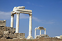 Ruins in Aphrodisias Turkey with columns and Corinthian column tops