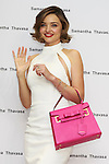Australian supermodel Miranda Kerr holds up a Samantha Thavasa bag during a talk show for the 2016 Spring Summer Samantha Thavasa Collection in Omotesando GATES building on March 16, 2016, Tokyo, Japan. Kerr is hugely popular in Japan and a regular muse for the Japanese accessory brand Samantha Thavasa. Kerr will star in a TV commercial for the brand using Crystal Kay's music. (Photo by Rodrigo Reyes Marin/AFLO)