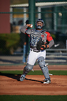 Adner Mercado (16) of Puerto Rico Baseball Academy in Juan Diaz, Puerto Rico during the Baseball Factory All-America Pre-Season Tournament, powered by Under Armour, on January 13, 2018 at Sloan Park Complex in Mesa, Arizona.  (Mike Janes/Four Seam Images)