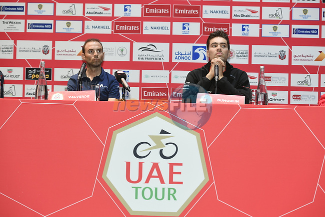 The 2019 UAE Tour World Champion Alejandro Valverde (ESP) Movistar Team and Tom Dumoulin (NED) Team Sunweb spoke to the media this afternoon in Louvre Abu Dhabi, United Arab Emirates. 23rd February 2019.<br />