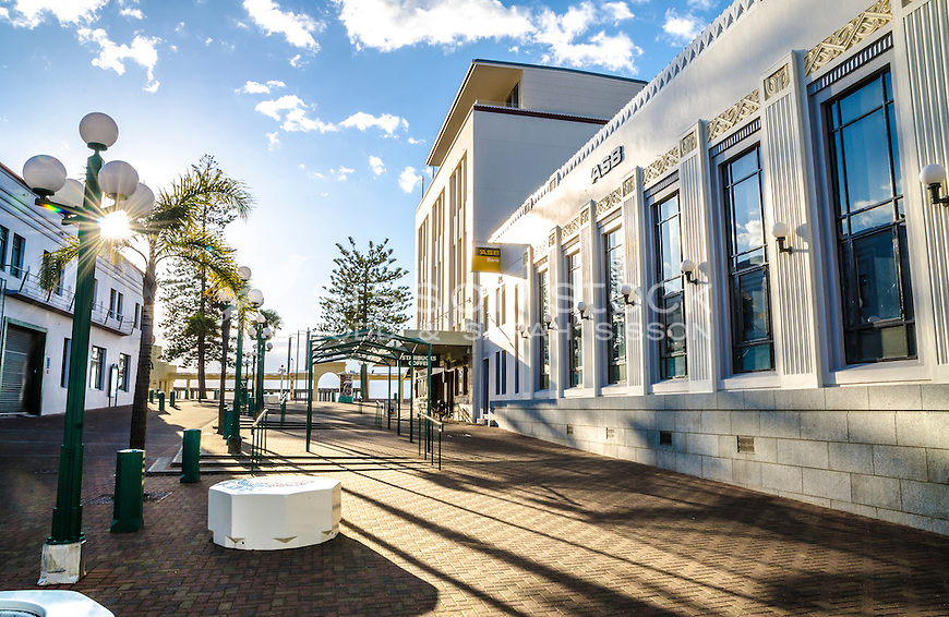 Art deco building (formerly 'The Dome') on Marine Parade, Napier. New Zealand - stock photo, canvas, fine art print