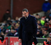 2nd December 2017, bet365 Stadium, Stoke-on-Trent, England; EPL Premier League football, Stoke City versus Swansea City; Swansea City manager Paul Clement looks despondent at the impending loss for his team