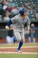 Catcher Freddy Fermin (4) of the Lexington Legends runs toward first base in a game against Columbia Fireflies on Friday, May 3, 2019, at Segra Park in Columbia, South Carolina. Lexington won, 5-2. (Tom Priddy/Four Seam Images)