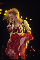CHICAGO, ILLINOIs - DECEMBER 9 , 1986: Cyndi Lauper performing at The UIC Pavillion in Chicago, Illinois on December 9, 1986.<br /> CAP/MPI/GA<br /> ©GA/MPI/Capital Pictures