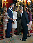 Princess Letizia of Spain, Prince Felipe of Spain, Queen Sofia of Spain , the President of the Congress of Spain Jesus Posada and the Vice President of the Congress of Spain Celia Villalobos attend the Royal Palace reception on the National Military Parade.October 12,2012.(ALTERPHOTOS/Pool)