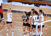 Florida International University women's volleyball players celebrate during the game against the University of Denver.  FIU won the match 3-2 on October 10, 2008 at Miami, Florida. .