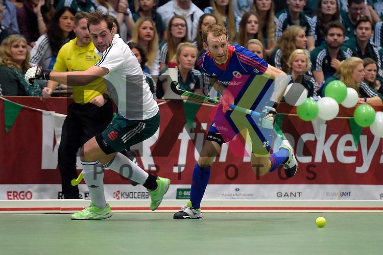 GER - Luebeck, Germany, February 06: During the 1. Bundesliga Herren indoor hockey semi final match at the Final 4 between Uhlenhorst Muelheim (white) and Mannheimer HC (blue) on February 6, 2016 at Hansehalle Luebeck in Luebeck, Germany.  Final score 2-3 (HT 7-5).  Tobias Matania #10 of HTC Uhlenhorst Muehlheim, Fabian Pehlke #23 of Mannheimer HC<br /> <br /> Foto &copy; PIX-Sportfotos *** Foto ist honorarpflichtig! *** Auf Anfrage in hoeherer Qualitaet/Aufloesung. Belegexemplar erbeten. Veroeffentlichung ausschliesslich fuer journalistisch-publizistische Zwecke. For editorial use only.